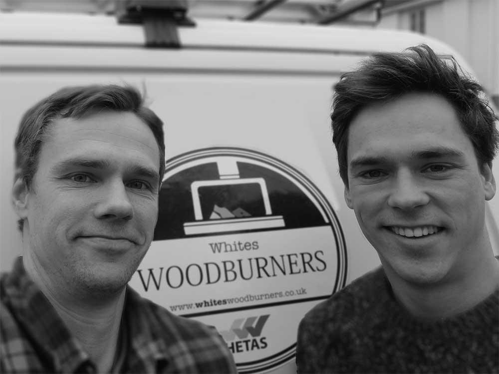 Hetas engineer Gareth White and woodburners installer David White